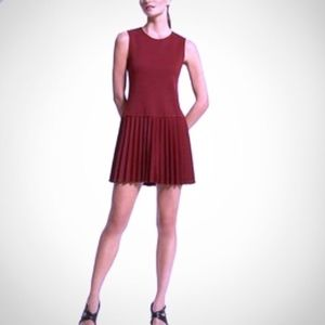 Theory Dresses - THEORY Regency Vesna Burgundy Maroon Pleated Dress